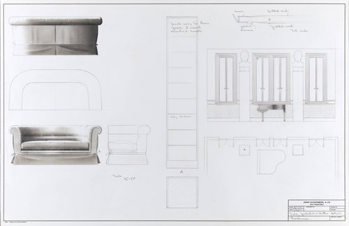 Sofa, pedestal, and shutter detail for Firehouse