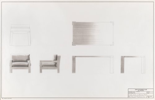 Club chair and dining table for Lloyd Sankowich