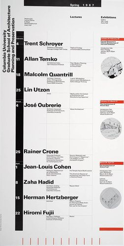 Columbia University School of Architecture, Planning, and Preservation, Spring 1987 Lecture Series Poster