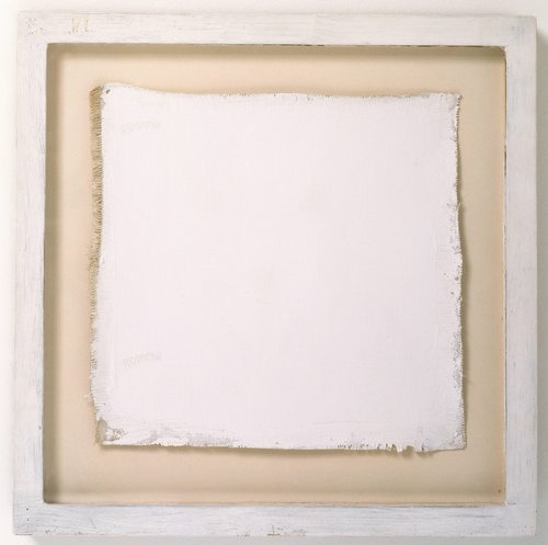 "An all white painting measuring 9 1/2 "" x 10"" and signed twice on the left side in white umber"