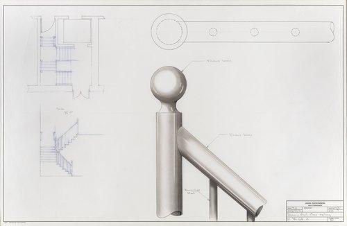 Brass and steel stair railing, 21 McGill Street, Toronto