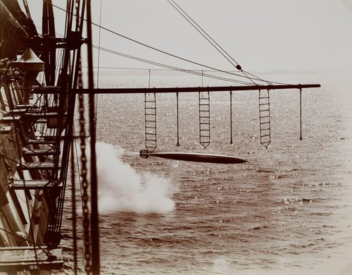 Untitled [Torpedo launching from a ship, probably the Sfax]