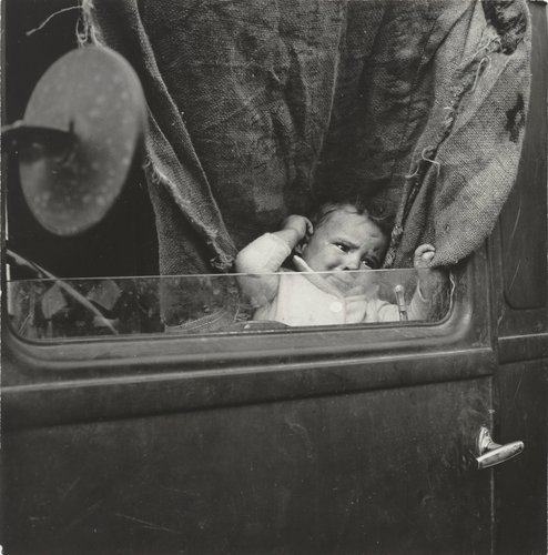 Baby from Mississippi parked in truck at FSA camp, Merrill, Klamath County, Oregon