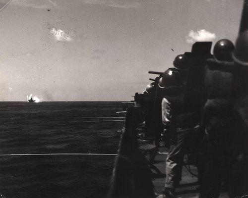 Kamikaze hits USS Intrepid, as seen from the USS Yorktown