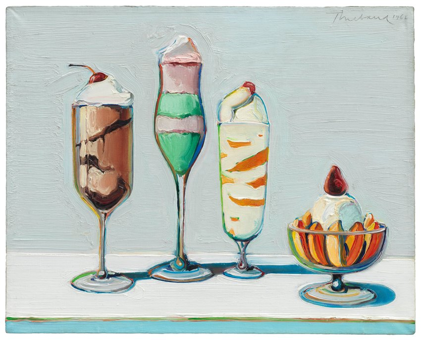 This oil painting, which measures sixteen inches tall and twenty inches wide, features four individual servings of different creamy desserts. From our left to right, the desserts are: a chocolate mousse with whipped cream served in a straight-sided wine flute and topped with a cherry; a mint pudding layered with pink mousse served in a curvy class with a tall stem; a footed highball glass filled with orange and cream zebra stripes, topped with a single cherry; and a short glass bowl of peach slices surrounding a scoop of vanilla ice cream, topped with a lush red strawberry. The off-white background, and all of the desserts have been rendered with thick paint and swooping brushstrokes reminiscent of frosted buttercream icing. Each glass casts a short, blue colored shadow to the right of us—suggesting a light source suspended closely above and slightly to the left. Underlining the four desserts, at the bottom edge of the canvas, is a band of pastel blue delineating the front edge of the tabletop.