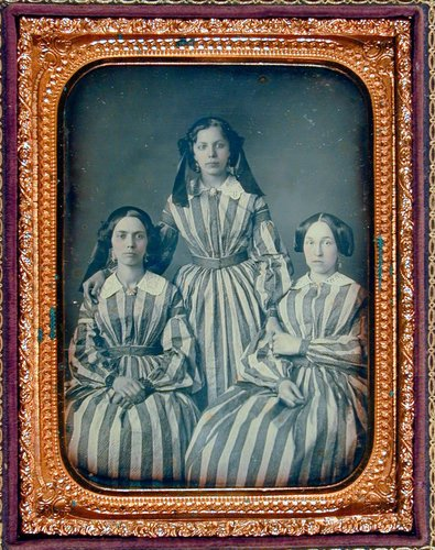 Untitled [Three women in striped dresses]