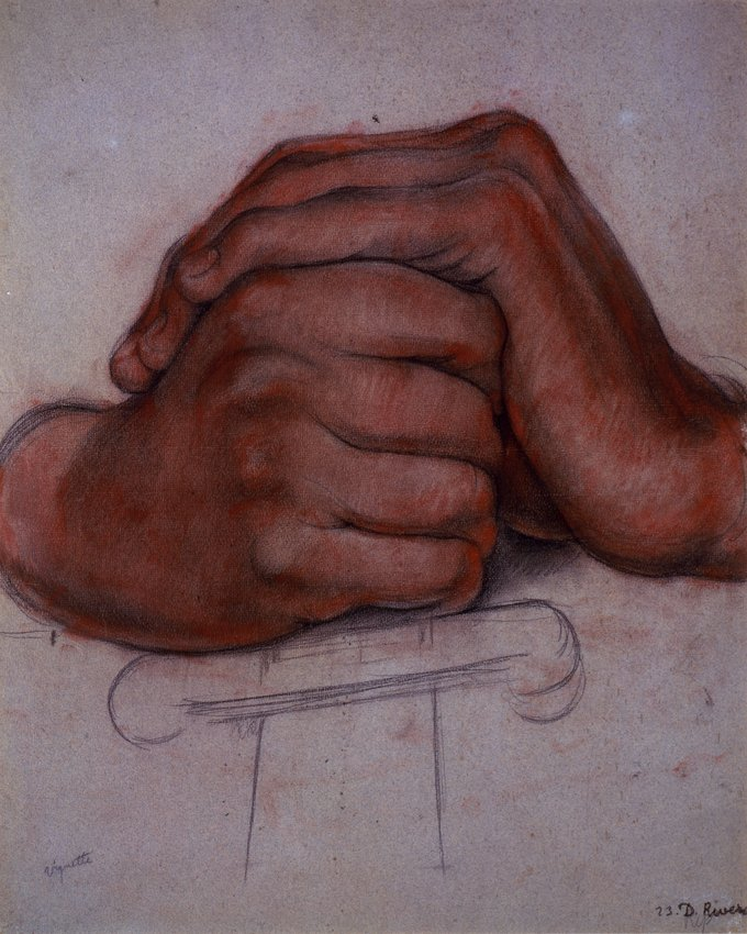 image of 'Untitled (Hands of the figure Strength), study for the mural Creation, National Preparatory School, Mexico City'