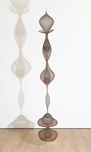 Untitled (S.114, Hanging, Six-Lobed Continuous Form within a Form with One Suspended and Two Tied Spheres)