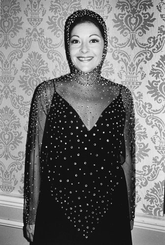 Woman in beaded dress, Beverly Hills, California