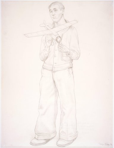 Untitled (Young man with model airplane), study for the mural Allegory of California, Pacific Stock Exchange Luncheon Club, San Francisco