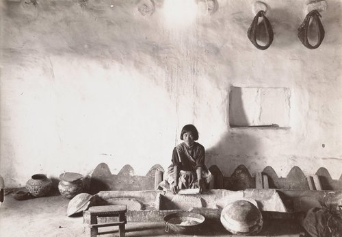 Hopi Woman Grinding Corn