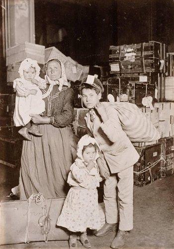Italian Family Looking for Lost Baggage, Ellis Island, New York