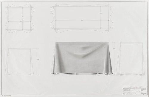 Galvanized sheet metal table for John Dickinson & Associates