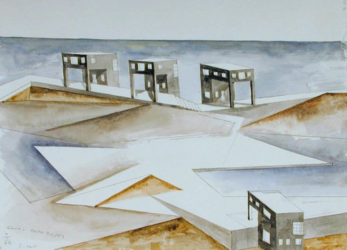 Concept Watercolor for Canal House Types, Erie Canal Edge, Rochester, New York Project