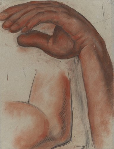 Untitled (Hand and arm of the figure Dance), study for the mural Creation, Anfiteatro Bolivar, Escuela Nacional Preparatoria, Mexico City