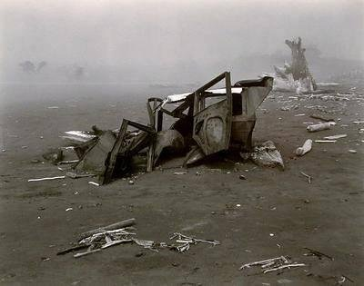 image of 'Wrecked Auto in Fog, Crescent Beach'