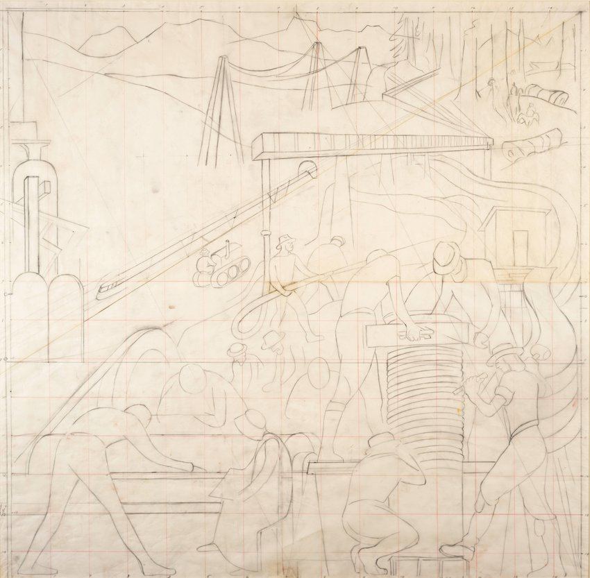 image of Untitled, study for the mural Pan American Unity, Golden Gate International Exposition, San Francisco