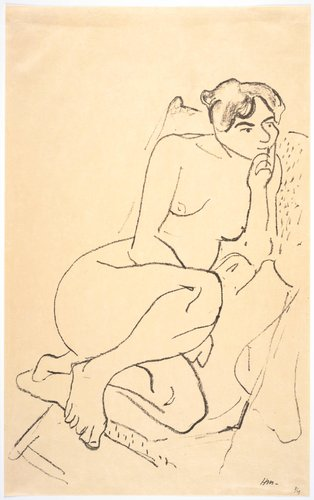 Figure pensive au fauteuil pliant (Nude Sitting in a Folding Chair)