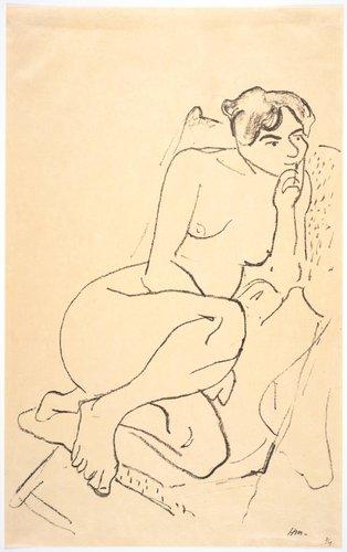 Figure pensive au fauteuil pliant (Nude Sitting in a Folding Chair)