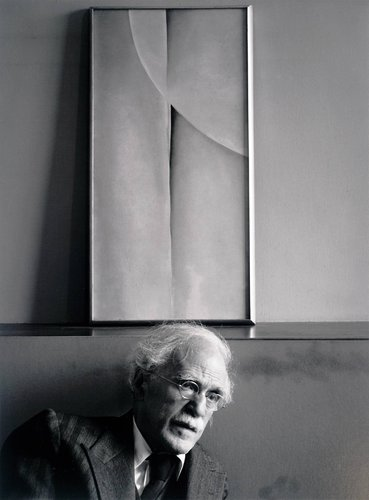 Alfred Stieglitz and Painting by Georgia O`Keeffe at an American Place