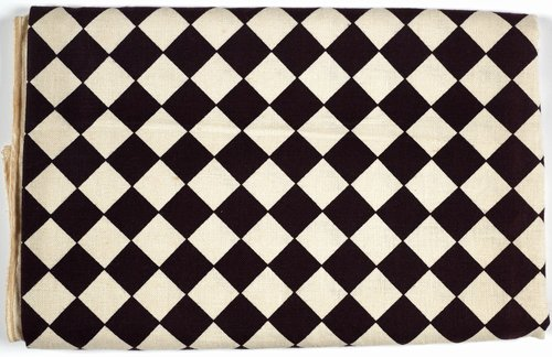 Checkerboard Tablecloth [Black on natural]