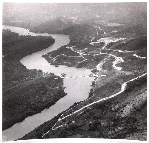 Untitled [Bridge location marked on an aerial view of a river]