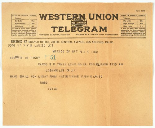 Telegram from Robo Richey to Tina Modotti