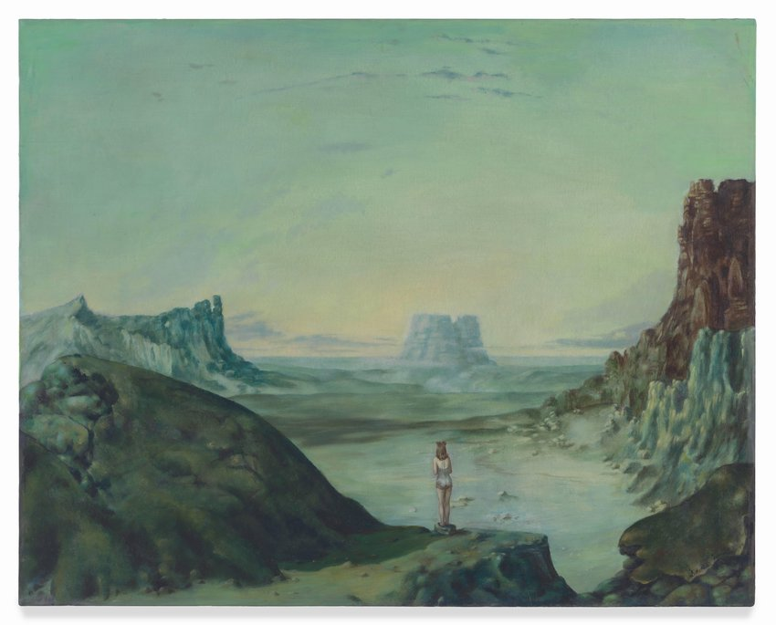 This two-foot-tall, two-and-a-half foot wide oil painting features a lone figure standing at the edge of a vast sandstone desert under a wide open sky. The figure is a thin woman wearing a one-piece bathing suit, and two locks of long brown hair twisted into buns atop her head. She stands on a round, flat rock with her back to us, dwarfed by the geography and the expansive sky above. One might expect the sandstone desert to be tinted red, and the sky to be brilliant blue, but that is not how this painting has been rendered. Instead, the entire canvas has a greenish aqua tint, giving the landscape an otherworldly quality. In front of the figure is a wide canyon with a flat, hazy floor. There are large, distinct, rock formations on the right, the left, and in the distance at the center of the canvas. The sky is calm but contains a few scattered clouds along the horizon, and in a faint band arching high above the woman's head.