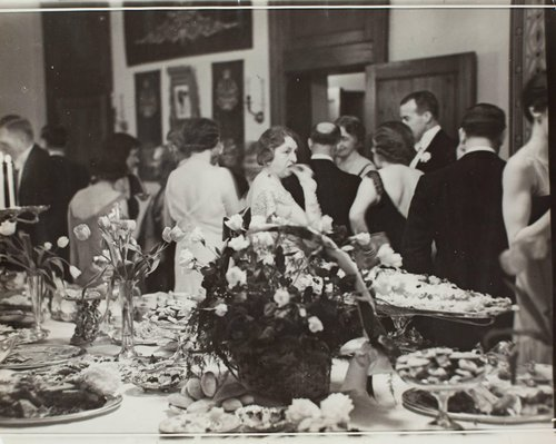 Mrs. Frederick Payne of the War Department eating at buffet in Mayflower Hotel, Washington, D.C.