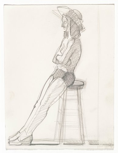 Nancy Jennings posing for possible portrait [side view with stool]