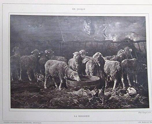 "image of 'Untitled [Reproduction of ""La Bergerie"" by Charles Jacque], from the publication Galerie Contemporaine'"