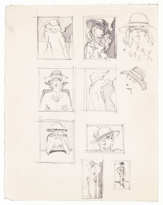 "image of Ten sketches for ""Girl with Pink Hat"""