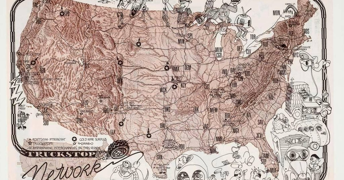 Ant Farm Truckstop Network Placemat SFMOMA - Map of truck stops in us