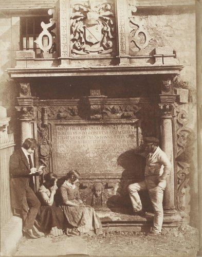 The Artist and the Gravedigger [Greyfriars' Churchyard, the Dennistoun Monument with D.O. Hill, His Nieces, the Misses Watson, and an Unknown Man]