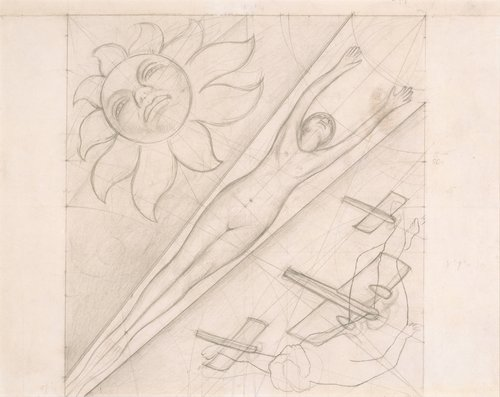 Untitled, study for the ceiling of the mural Allegory of California, Pacific Stock Exchange Luncheon Club, San Francisco