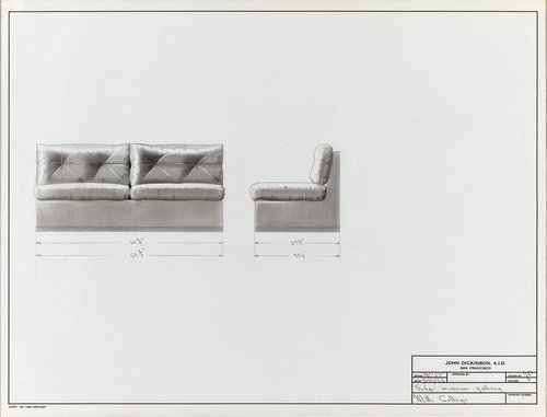 Sofa for museum gallery, Mills College