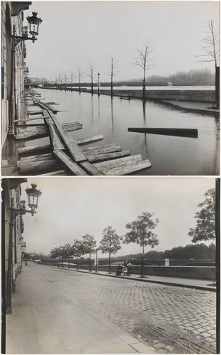 Paris Flood, Quai de Bethune towards Pont Sully, January and June 1910