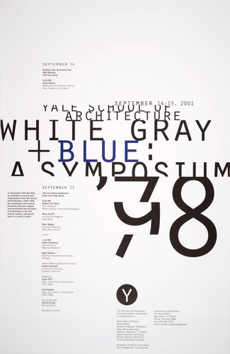 White, Gray, and Blue: A Symposium poster