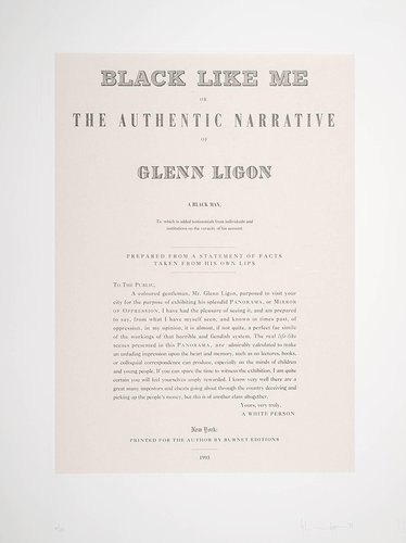 Black Like Me or, The Authentic Narrative of Glenn Ligon a Black Man, from the portfolio Narratives