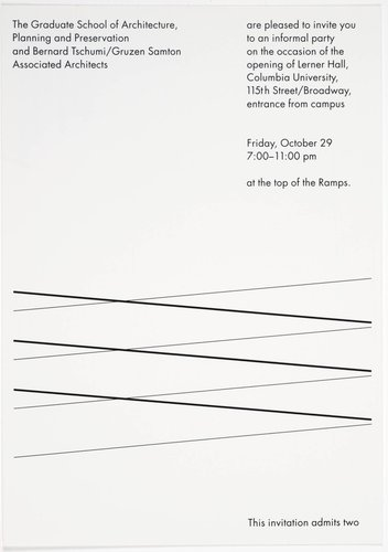 Bernard Tschumi / Lerner Hall Invitation