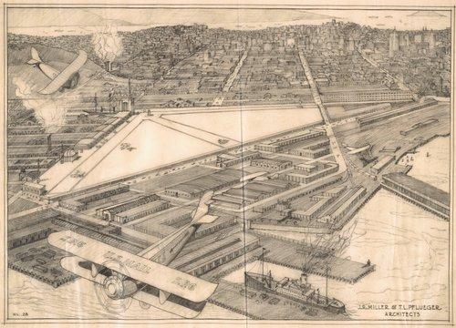 Bird's-eye view of the proposed airport at China Basin, San Francisco