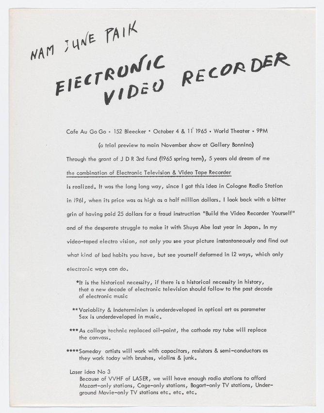 image of Electronic Video Recorder, Cafe au Go Go, October 4 and 11, 1965