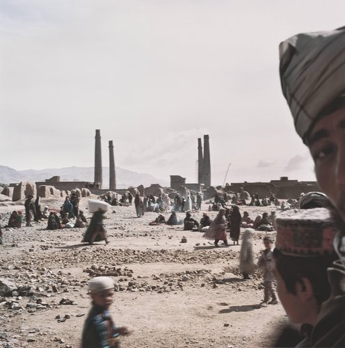 Timurid Minarets and Refugee Camp, Herat, Afghanistan, from the series Travelling through the Eye of History