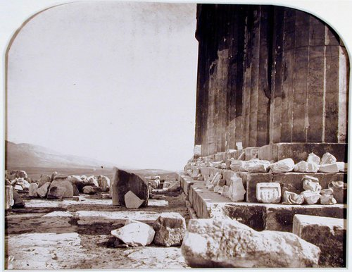 Profile of the eastern façade [of the Parthenon], showing the curvature of the stylobate, from The Acropolis of Athens