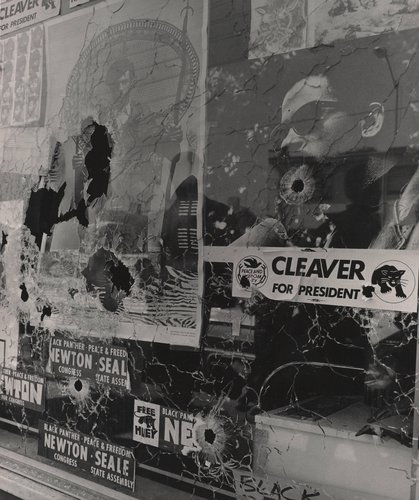 Plate glass window of the Black Panther Party Headquarters, the morning it was shattered by the bullets of two Oakland policemen, September 10, 1968, from The Vanguard: A Photographic Essay on the Black Panthers