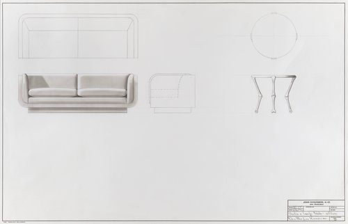 Sofa and lamp table for office of Dr. and Mrs. Leo Keoshian