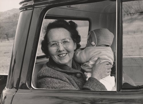 Ranch [Mrs. Samuels holding baby, Berryessa Valley]