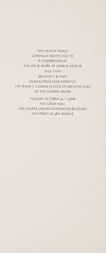 John Hedjuk Memorial Celebration Invitation