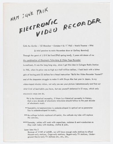 Electronic Video Recorder, Cafe au Go Go, October 4 and 11, 1965