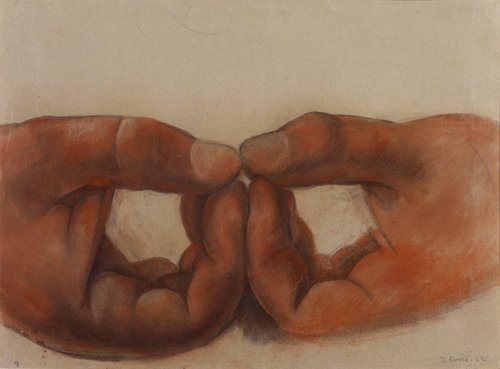 Untitled (Hands of the figure Wisdom), study for the mural Creation, Anfiteatro Bolívar, Escuela Nacional Preparatoria, Mexico City
